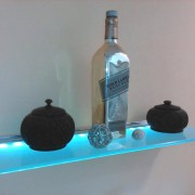 wall mounted LED lighted glass shelf