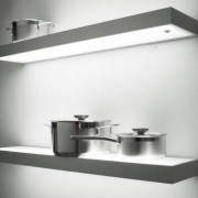LED glass shelves, lit from top and bottom