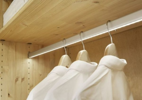 lighted closet rod with LEDs