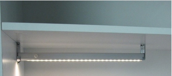 LED lighted closet rod with motion sensor